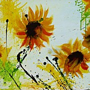 Gruenwald Mixed Media Framed Prints - Abstract Sunflowers 2 Framed Print by Ismeta Gruenwald