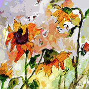 Provence Mixed Media Posters - Abstract Sunflowers and Bees Provence Poster by Ginette Callaway
