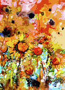 Ginette Fine Art LLC Ginette Callaway - Abstract Sunflowers Contemporary Expressive Art
