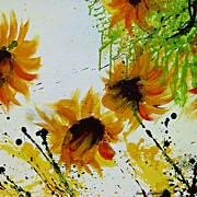 Gruenwald Mixed Media Framed Prints - Abstract Sunflowers Framed Print by Ismeta Gruenwald