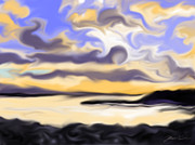 New England Ocean Drawings Posters - Abstract Sunset Black Point Maine Poster by Jean Pacheco Ravinski