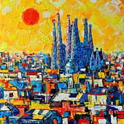 Skyline Painting Posters - Abstract Sunset Over Sagrada Familia In Barcelona Poster by Ana Maria Edulescu