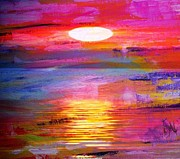 Sunset Greeting Cards Digital Art Prints - Abstract Sunset Print by PainterArtist FIN