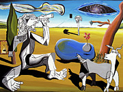Surrealism Tapestries Textiles Prints - Abstract Surrealism Print by Ryan Demaree