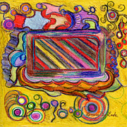 Square Art Drawings - Abstract Television and Shapes by Lenora  De Lude