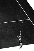 Serve Prints - Abstract Tennis Serve Black and White Print by Mason Resnick