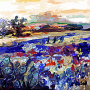 Hill Mixed Media - Abstract Texas Bluebonnets Modern Landscape by Ginette Callaway