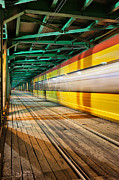 Tram Framed Prints - Abstract Tram Light Trail on a Bridge Framed Print by Artur Bogacki