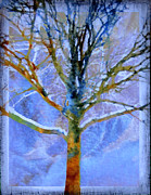 Blue And Brown Posters - Abstract Tree Poster by Ann Powell
