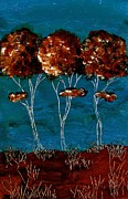 Turquoise And Brown Framed Prints - Abstract Trees Blue and Brown Landscape Painting Framed Print by Laura  Carter