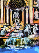 Historical Buildings Posters - Abstract Trevi Fountain Rome Italy Poster by Ginette Callaway
