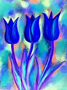 Alvarez Framed Prints - Abstract tulip blue Framed Print by Michael Alvarez