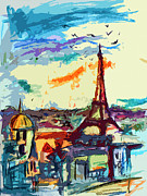 Famous Cities Framed Prints - Abstract Under Paris Skies Mixed Media Art Framed Print by Ginette Callaway