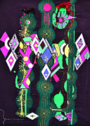 Turquoise Tapestries - Textiles Prints - Abstract Warriors Print by Ruth Ash