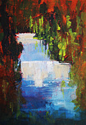 Fishing Creek Prints - Abstract Waterfall Painting Print by Nancy Merkle