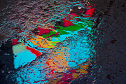 Puddle Prints - Abstract wet pavement Print by Garry Gay