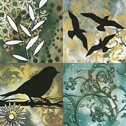 Silhouette Painting Posters - Abstract Whimsical Decorative Bird Art Original Paintings NATURES WHIMSY SQUARE 1 by MADART Poster by Megan Duncanson