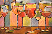 Food And Drink Originals - Abstract Wine Art ... Whites and Reds by Amy Giacomelli
