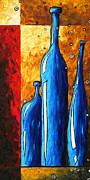 Design Wine Art Posters - Abstract Wine Bottles Original Painting Digital Art ON THE SHELF by MADART Studios Poster by Megan Duncanson