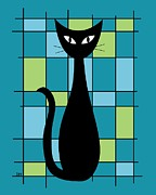 Grid Posters - Abstract with Cat in Teal Poster by Donna Mibus