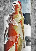 Woman Standing Framed Prints - Abstract Woman Framed Print by David Ridley