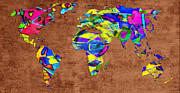 Atlas Mixed Media Posters - Abstract World Map - A Wide World Of Color - One Poster by Andee Photography