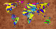 Atlas Mixed Media Posters - Abstract World Map - A Wide World Of Color - Two Poster by Andee Photography
