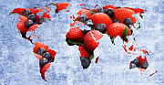 Strawberry Mixed Media - Abstract World Map - Berries And Cream - Blue by Andee Photography