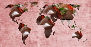 Global Map Mixed Media - Abstract World Map - Chocolate Covered Strawberries - Candy Shop by Andee Photography