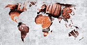 Global Map Mixed Media - Abstract World Map - Chocolates - Confections - Candy Shop by Andee Photography