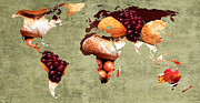Atlas Mixed Media Posters - Abstract World Map - Harvest Bounty - Farmers Market Poster by Andee Photography