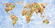 Global Map Mixed Media - Abstract World Map - M and M Cookies - Baker - Teacher - School by Andee Photography