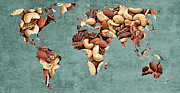 Word Map Posters - Abstract World Map - Mixed Nuts - Snack - Nut Hut Poster by Andee Photography