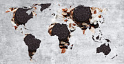 Global Map Mixed Media - Abstract World Map - Oreo Cookies - Teacher - School by Andee Photography