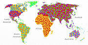 World Text Map Digital Art - Abstract World Map - Polka Dots - Digital Painting 2 by Andee Photography