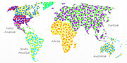 World Text Map Digital Art - Abstract World Map - Polka Dots - Digital Painting 4 by Andee Photography