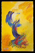 Dolphin Paintings - Abstract Yellow Blue by Tracy L Teeter
