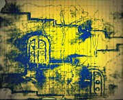 Haunted House Mixed Media Originals - Abstract Yellow Gates by Ayush Tiwari