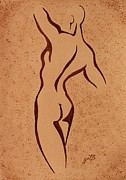Nude Young Man Prints - Abstract Young Man Nude coffee painting Print by Georgeta Blanaru