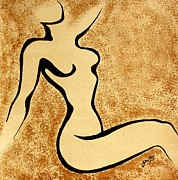 Coffee Paintings - Abstract Young Woman Body by Georgeta  Blanaru