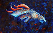 Denver Broncos Paintings - Abstracted Bronco by Jennifer Morrison Godshalk