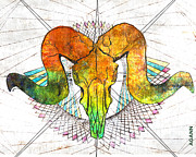 Illustrator Metal Prints - Abstracted Ram Metal Print by April Gann