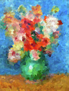 Floral Still Life Mixed Media Prints - Abstracting Renoir Print by Zeana Romanovna