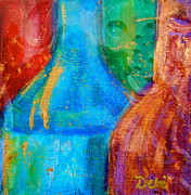 Liquid Mixed Media Prints - Abstraction of Bottles Print by Debi Pople