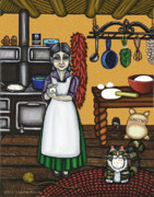 Country Kitchen Posters - Abuelita or Grandma Poster by Victoria De Almeida