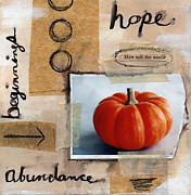 Autumn Mixed Media Metal Prints - Abundance Metal Print by Linda Woods