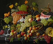 Vine Grapes Painting Posters - Abundant Fruit Poster by Severin Roesen