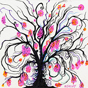 Pink Blossoms Drawings Posters - Abundant Tree Blossoms Poster by Nina Kuriloff