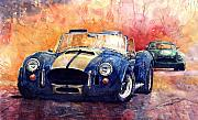 Watercolour Posters - AC Cobra Shelby 427 Poster by Yuriy  Shevchuk