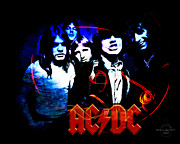 Hall Of Fame Band Framed Prints - Ac/dc  Framed Print by Absinthe Art By Michelle LeAnn Scott